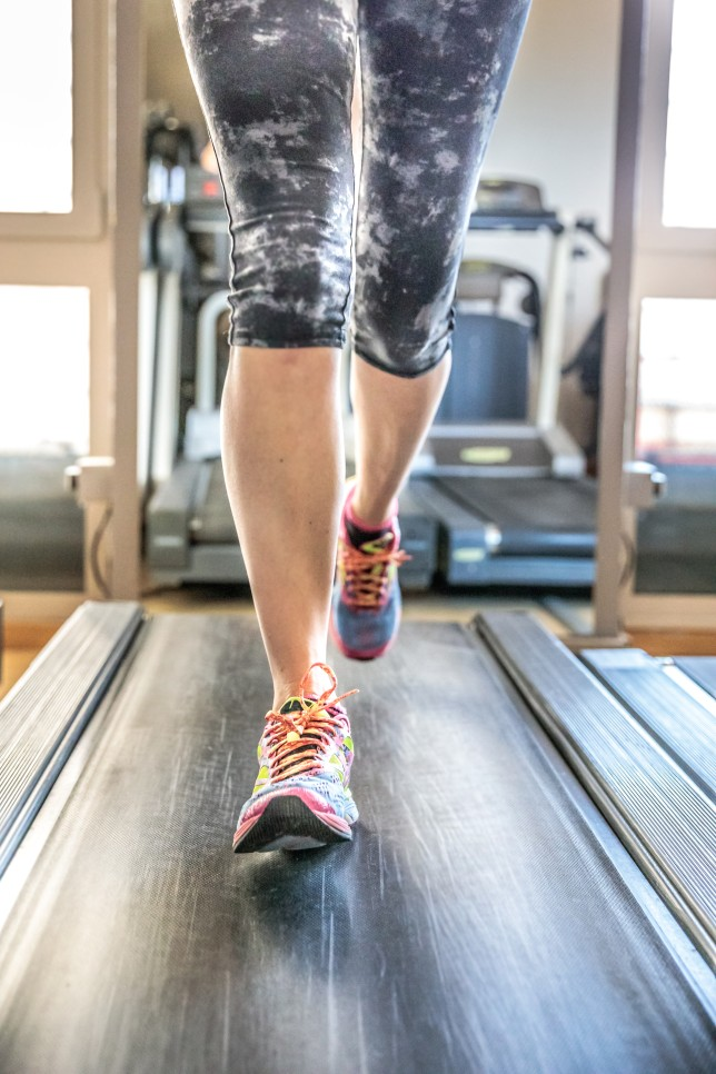 Close up of woman feet in colorful shoes running on treadmill machine indoor. Fitness center training. Healthy lifestyle concept.